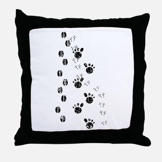 Distressed Animal Tracks Silhouette Throw Pillow