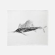 Distressed Sail Fish Silhouette Throw Blanket