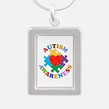 Autism Awareness Heart Silver Portrait Necklace