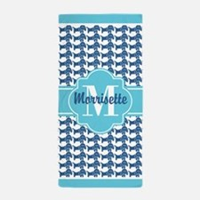Aqua Blue Dachshund Pattern Custom Mon Beach Towel