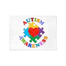 Autism Awareness Heart 5'x7'Area Rug