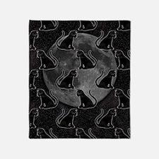 Black Cats Full Moon Throw Blanket