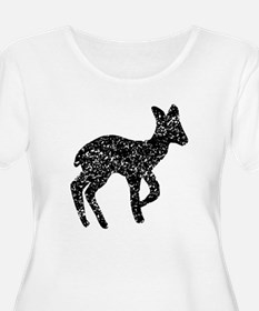 Distressed Fawn Silhouette Plus Size T-Shirt