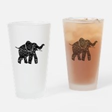 Distressed Baby Elephant Silhouette Drinking Glass