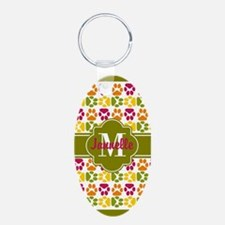 Olive Trim Paws Pattern Cus Keychains