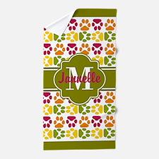 Olive Trim Paws Pattern Custom Monogra Beach Towel