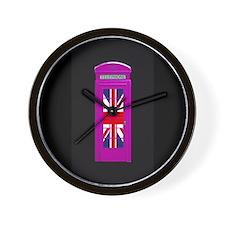 Pink! London phone box Wall Clock
