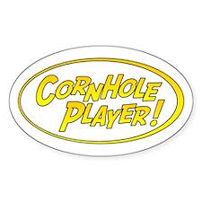 Cornhole Player Oval Stickers