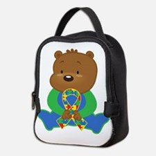 Autism Puzzle Ribbon Bear Neoprene Lunch Bag