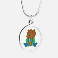 Autism Puzzle Ribbon Bear Necklaces