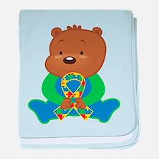 Autism Puzzle Ribbon Bear baby blanket