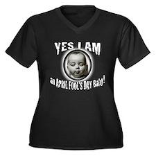 April Fool's Women's Plus Size V-Neck Dark T-Shirt