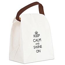 Keep Calm and Swine ON Canvas Lunch Bag