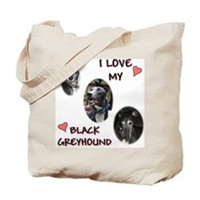 I Love My Black Greyhound Tote Bag