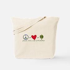 Peace Love And Artichokes Tote Bag