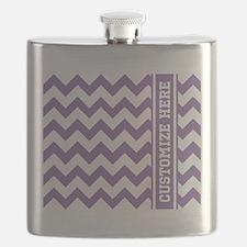 Customized Purple Chevron Pattern Flask