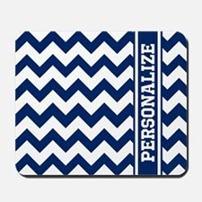 Personalized Blue Chevron Pattern Mousepad