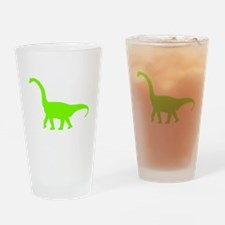 Brachiosaurus Silhouette (Green) Drinking Glass