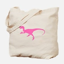 Velociraptor Silhouette (Pink) Tote Bag