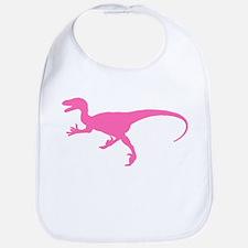 Velociraptor Silhouette (Pink) Bib
