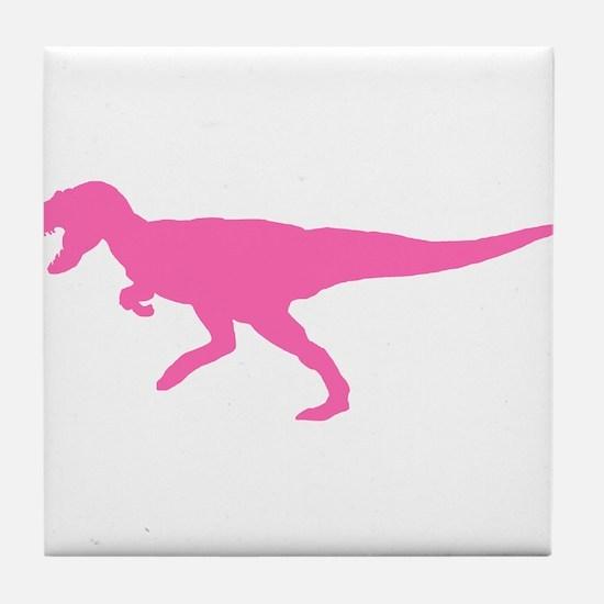 Tyrannosaurus Rex Silhouette (Pink) Tile Coaster