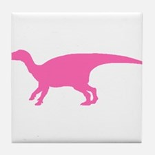 Iguanodon Silhouette (Pink) Tile Coaster