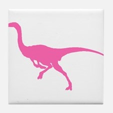 Gallimimus Silhouette (Pink) Tile Coaster