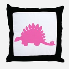 Stegosaurus Silhouette (Pink) Throw Pillow