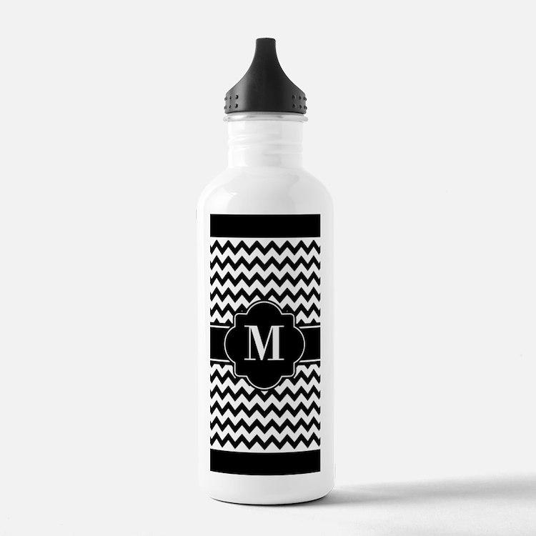 Black and White Chevro Water Bottle