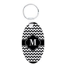 Black and White Chevron Cus Keychains