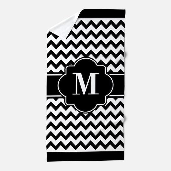 Black and White Chevron Custom Monogra Beach Towel