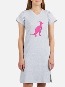 Parasaurolophus Silhouette (Pink) Women's Nightshi