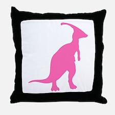 Parasaurolophus Silhouette (Pink) Throw Pillow