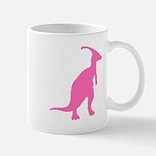 Parasaurolophus Silhouette (Pink) Mugs