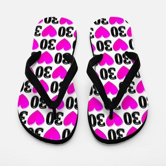 30th Love Filled Flip Flops