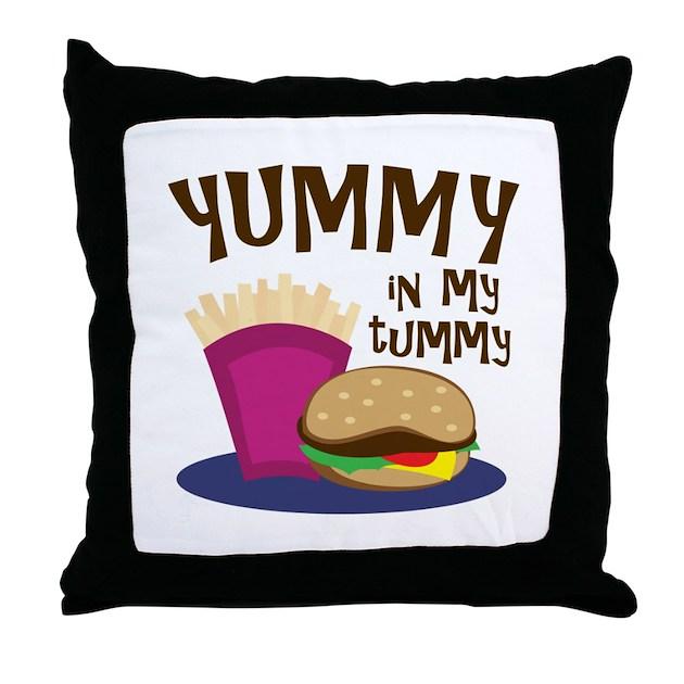 Yummy Tummy Throw Pillow by Embroidery21  Yummy Tummy Thr...