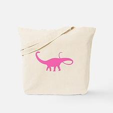 Apatosaurus Silhouette (Pink) Tote Bag