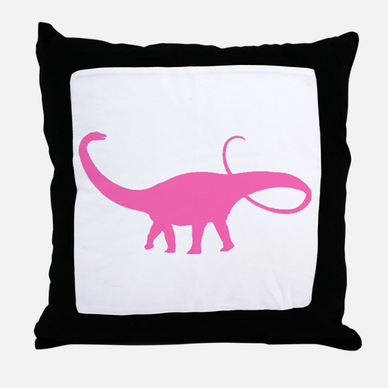 Apatosaurus Silhouette (Pink) Throw Pillow