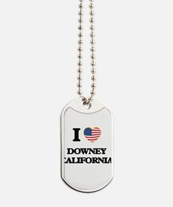 I love Downey California USA Design Dog Tags