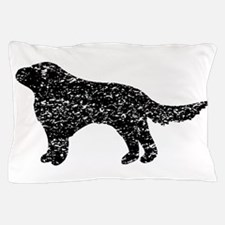 Distressed Flat-Coated Retriever Silhouette Pillow
