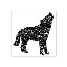 Distressed Coyote Howling Silhouette Sticker