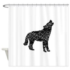 Distressed Coyote Howling Silhouette Shower Curtai