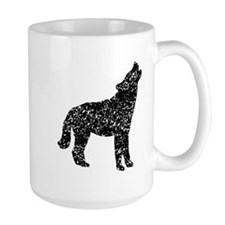Distressed Coyote Howling Silhouette Mugs