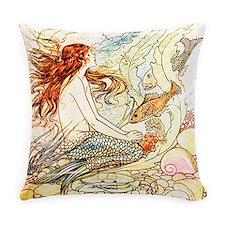 Vintage Mermaid Everyday Pillow