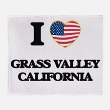 I love Grass Valley California USA D Throw Blanket