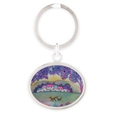 Foxes Oval Keychain