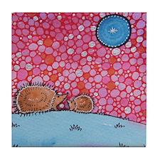 Kissing Hedgehogs Tile Coaster