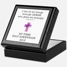 First Communion Pink I Can Do All Thi Keepsake Box