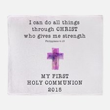 First Communion Pink I Can Do All Th Throw Blanket