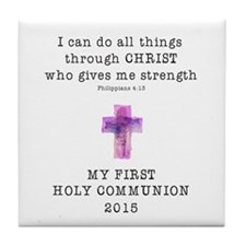 First Communion Pink I Can Do All Thi Tile Coaster